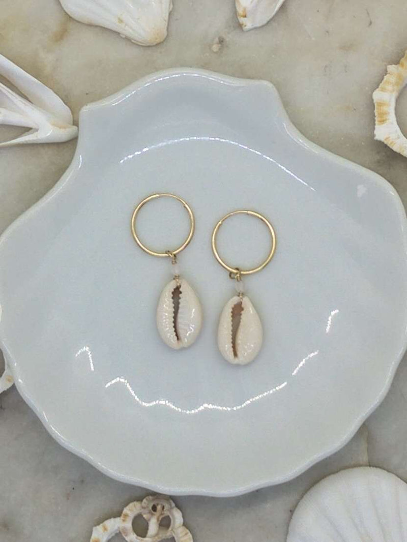 Gold Fill Cowrie Shell Hoops, Earrings with Rose Quartz by Lunarsea Designs