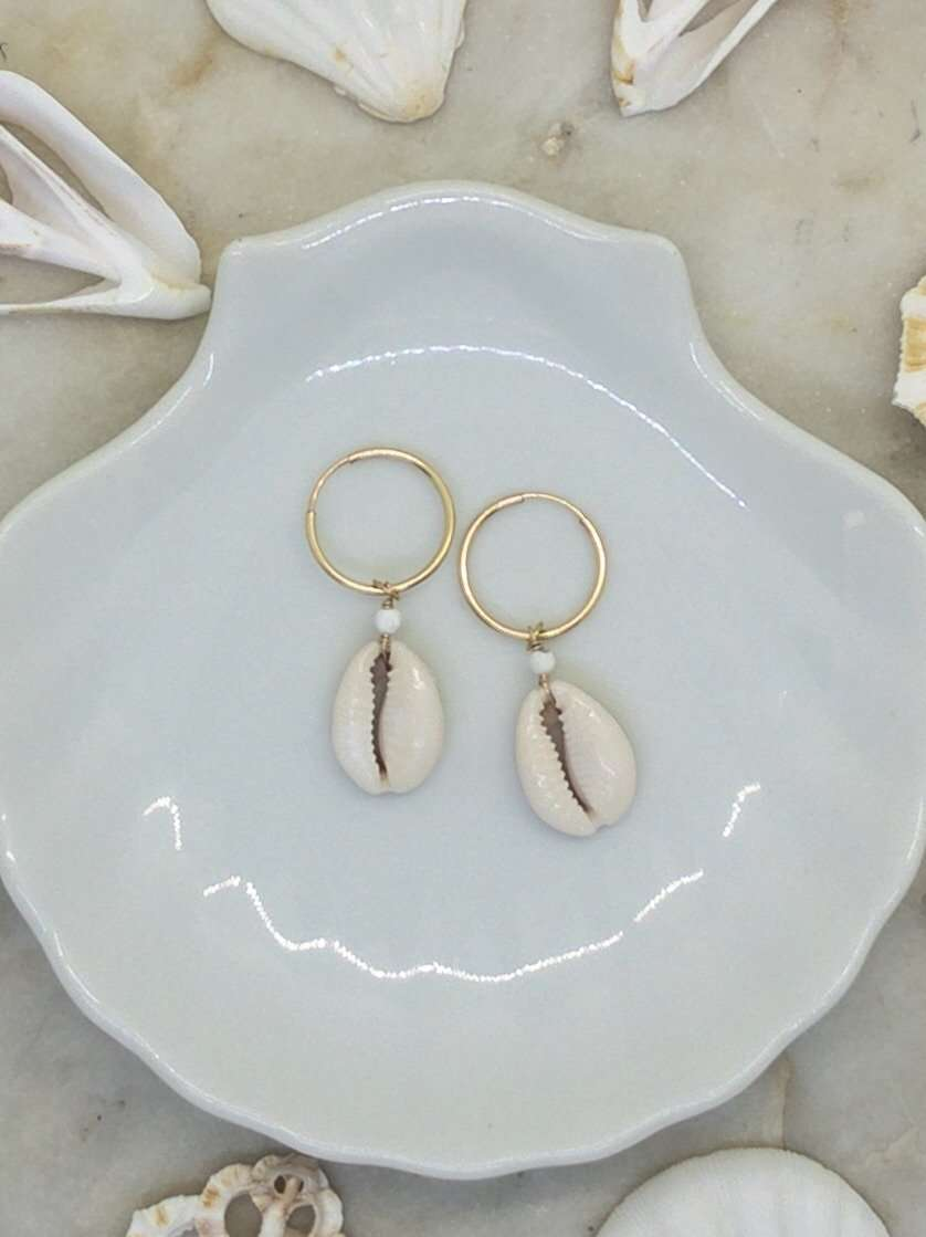 Gold Fill Cowrie Shell Hoops, Earrings with Howlite by Lunarsea Designs