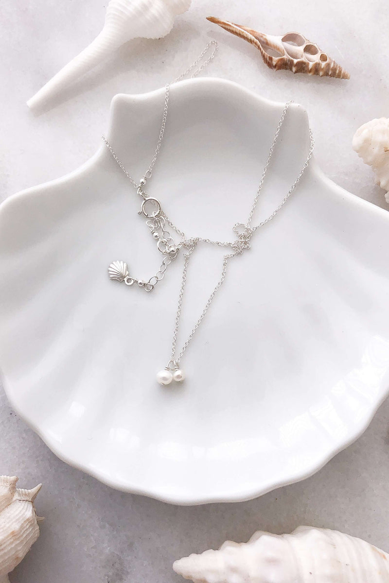 Two Pearl Necklace - Silver, Necklace with  by Lunarsea Designs