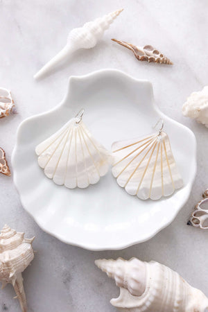 Pearl Shell Earrings Large - Silver, Earrings with  by Lunarsea Designs