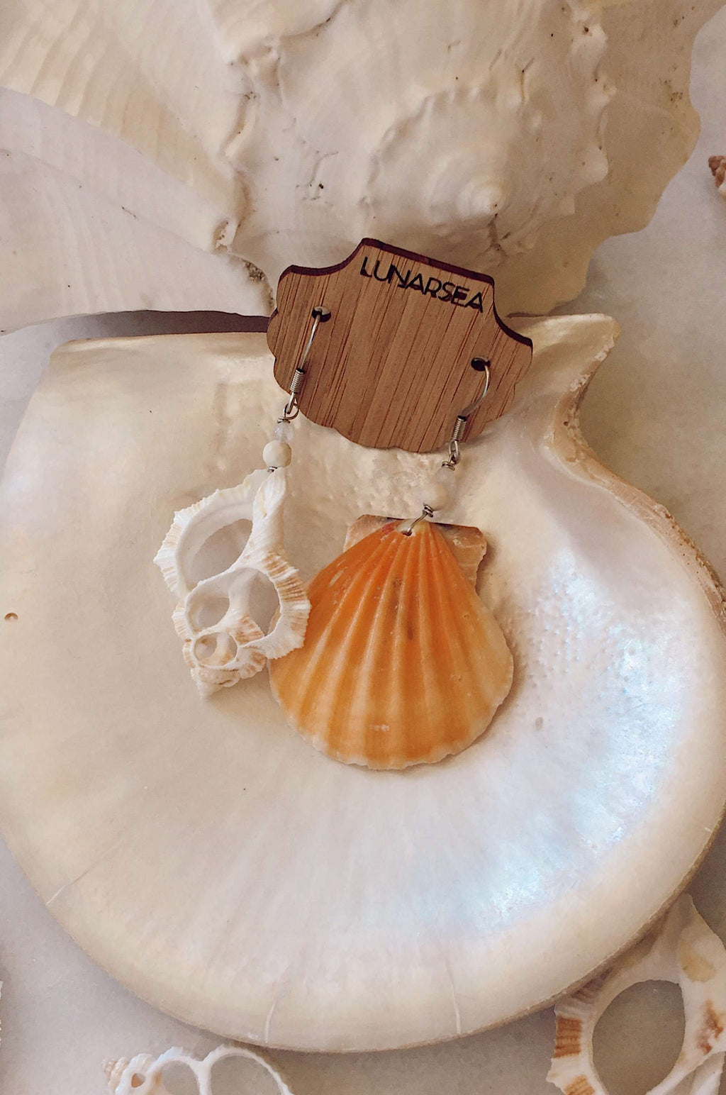 Castaway Shell Earrings, Earrings with Orange Scallop + White Slice by Lunarsea Designs