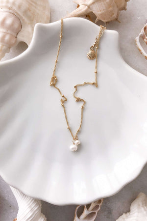 Gold Fill Two Pearl Satellite Necklace, Necklace with  by Lunarsea Designs