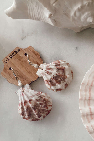 Castaway Shell Earrings, Earrings with Scallop pair Howlite & Rose Quartz by Lunarsea Designs