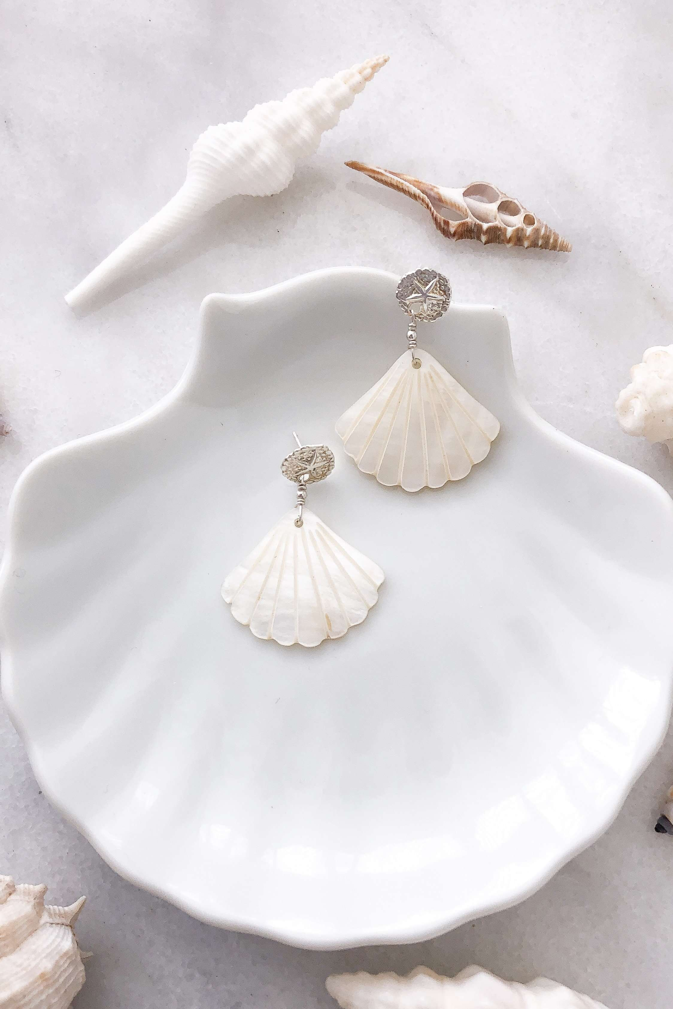 Sand Dollar & Pearl Shell Studs - Silver, Earrings with  by Lunarsea Designs