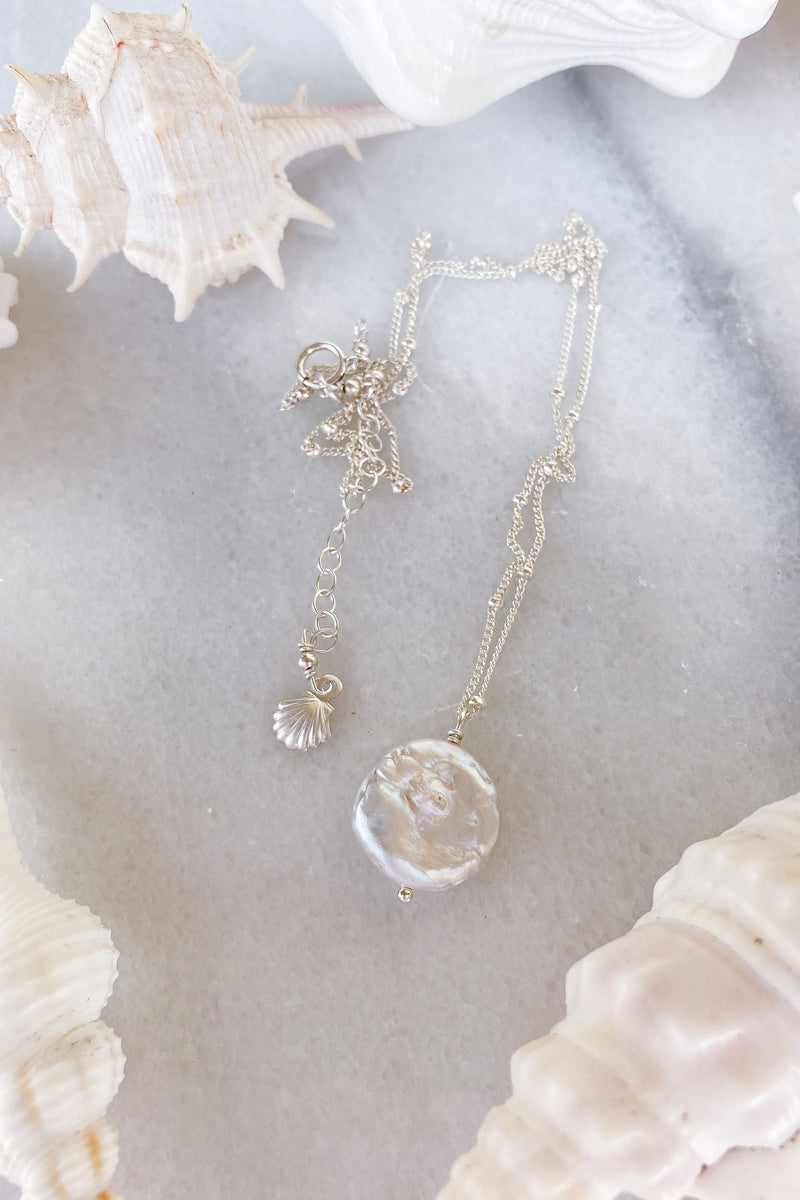 Round Pearl Satellite Necklace  - Sterling Silver