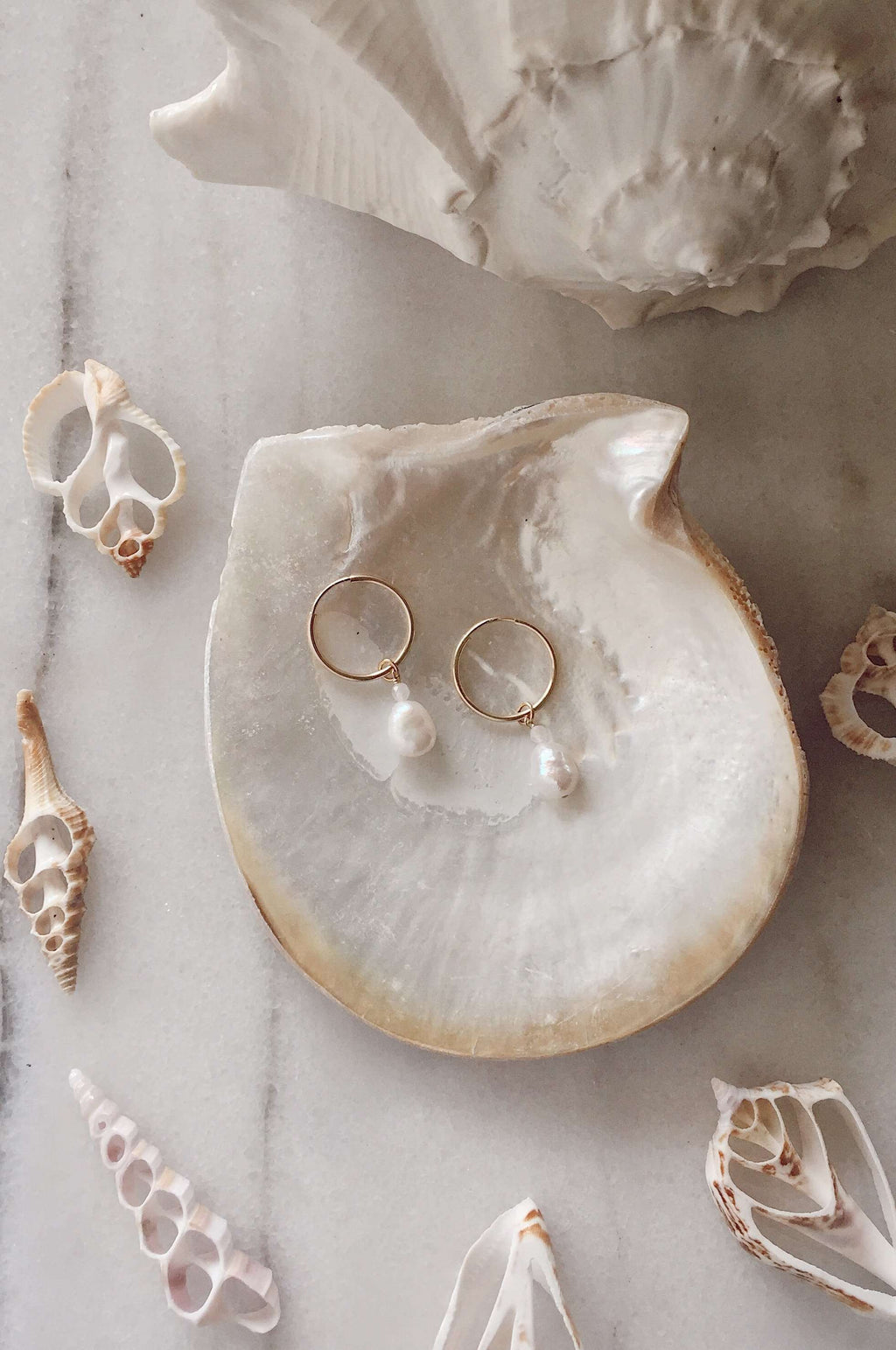 Gold Fill Pearl Hoops, Earrings with Rose Quartz by Lunarsea Designs