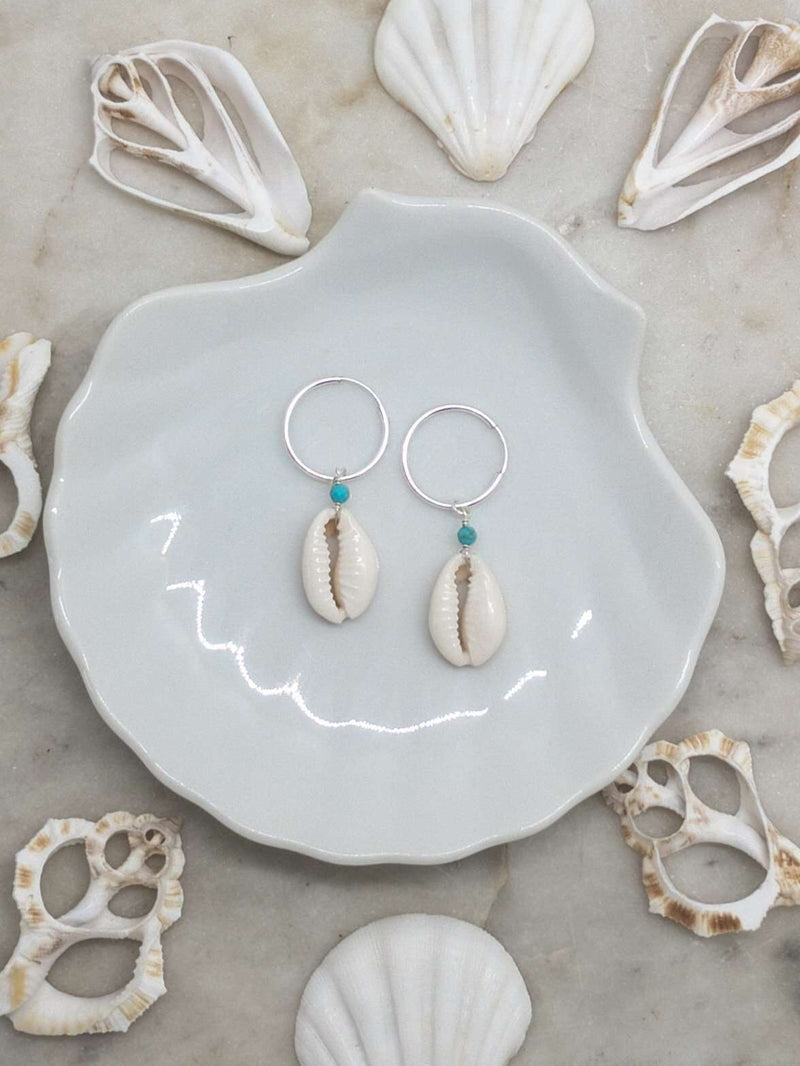 Sterling Silver Cowrie Shell Hoops, Earrings with Turquoise by Lunarsea Designs