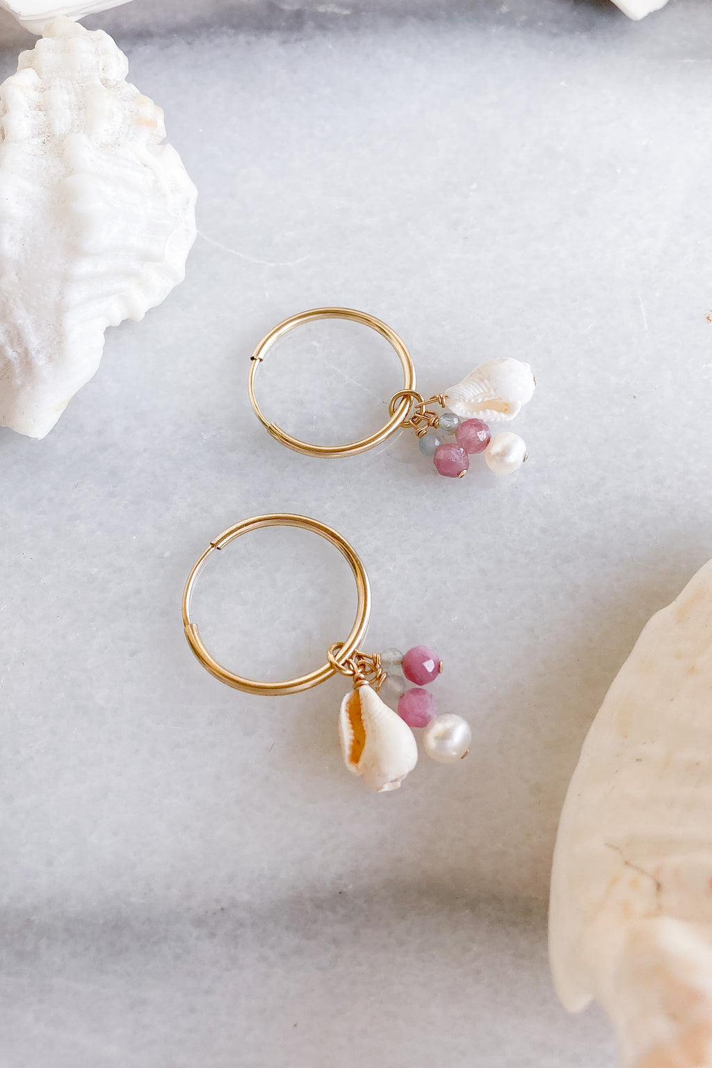 gold fill shells stones hoops
