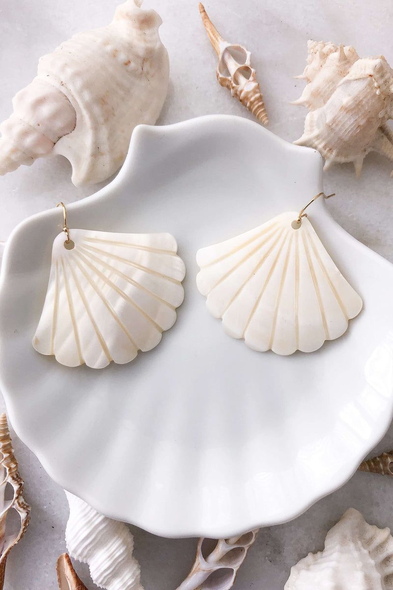 Gold Fill Pearl Shell Earrings Large, Earrings with  by Lunarsea Designs