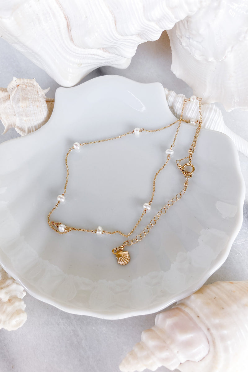 Pearl Chain Choker - Gold fill