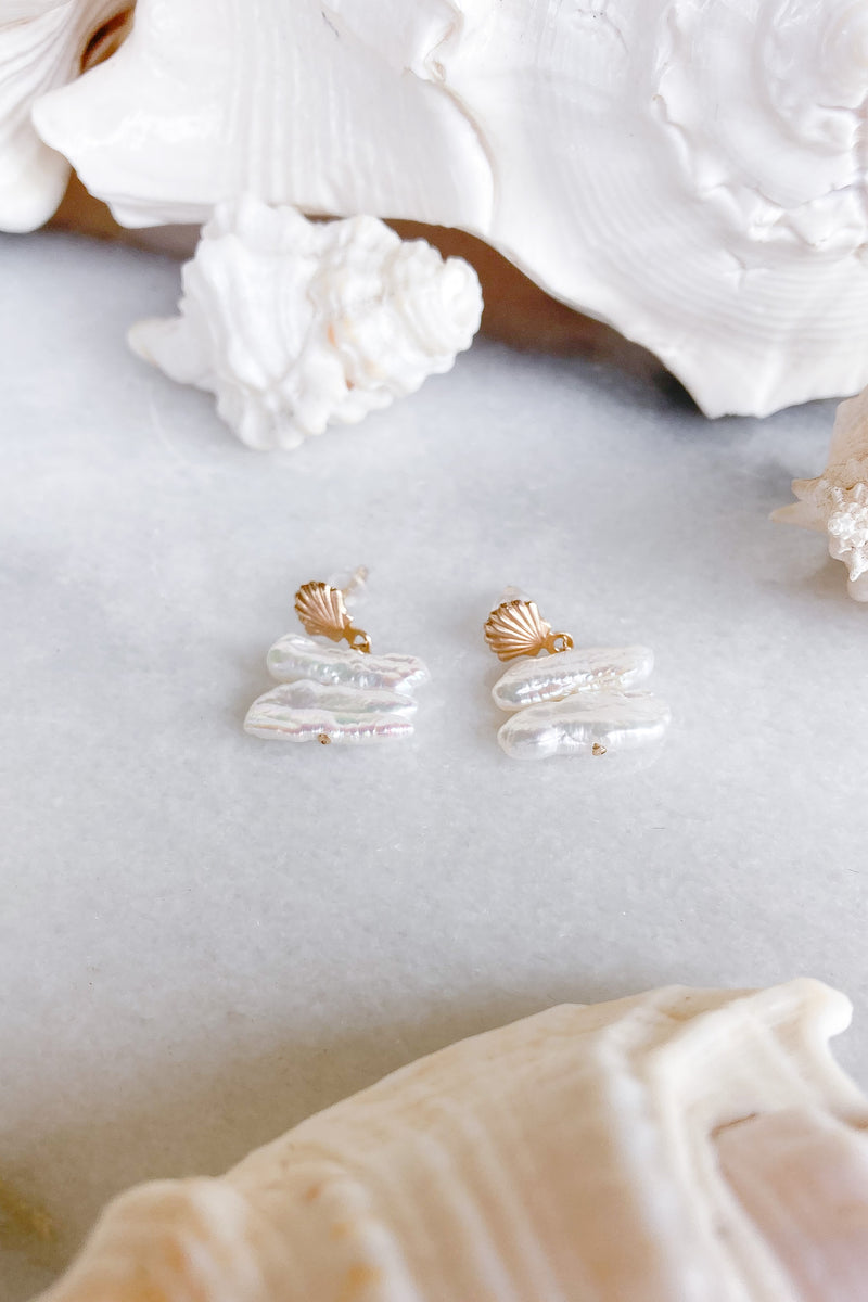 keshi pearls gold shell stud earrings