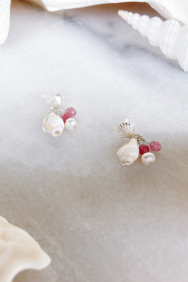 shell studs cone shell genstones sterling silver