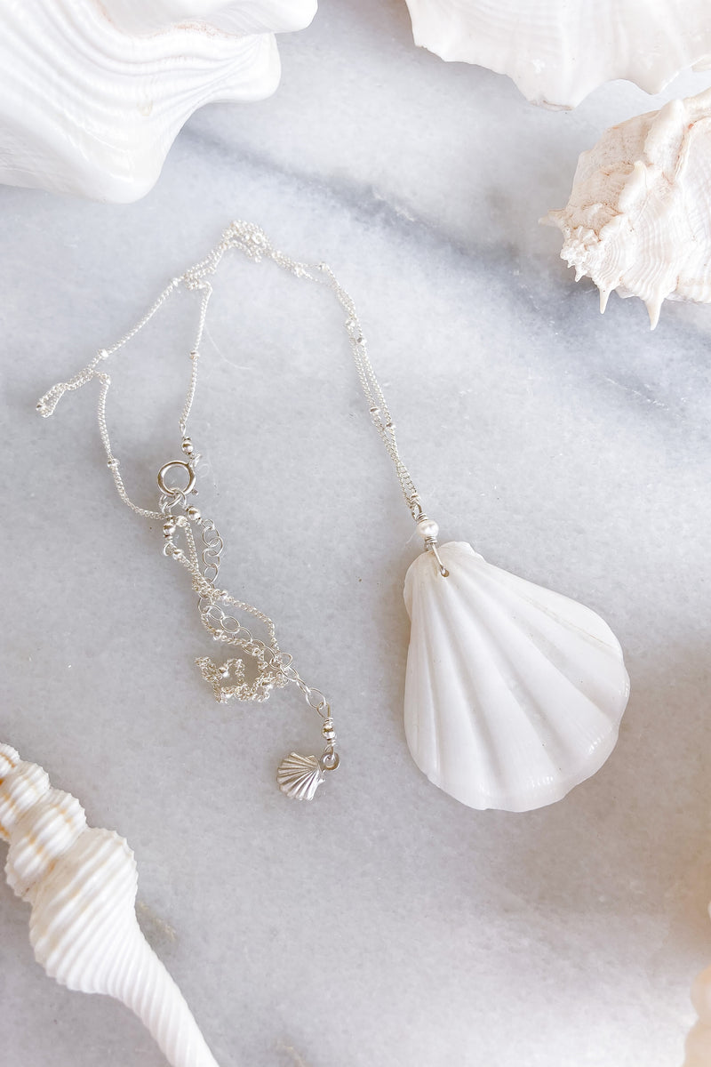 White Shell Satellite Necklace  - Sterling Silver