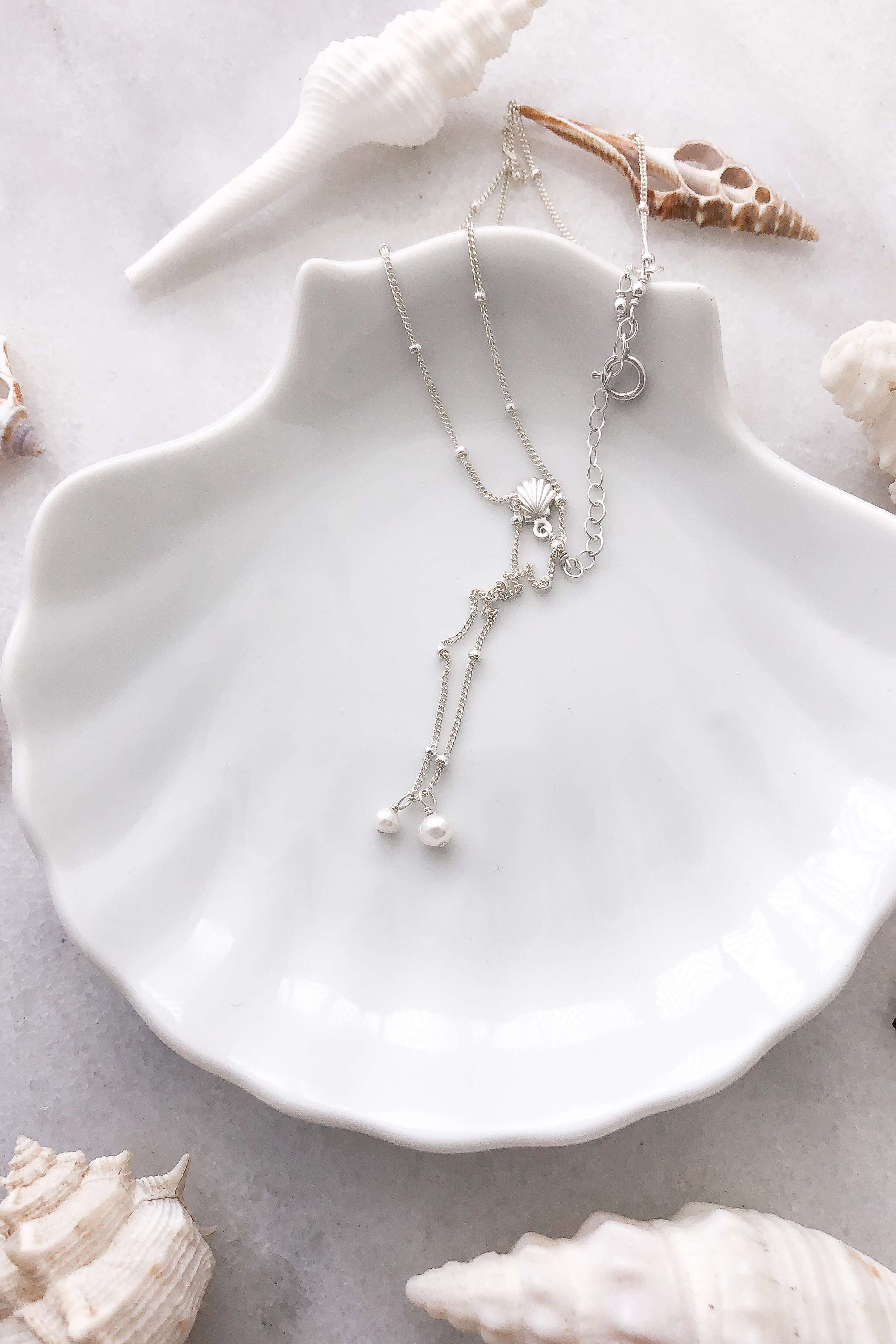 Two Pearl Satellite Necklace - Silver, Necklace with  by Lunarsea Designs