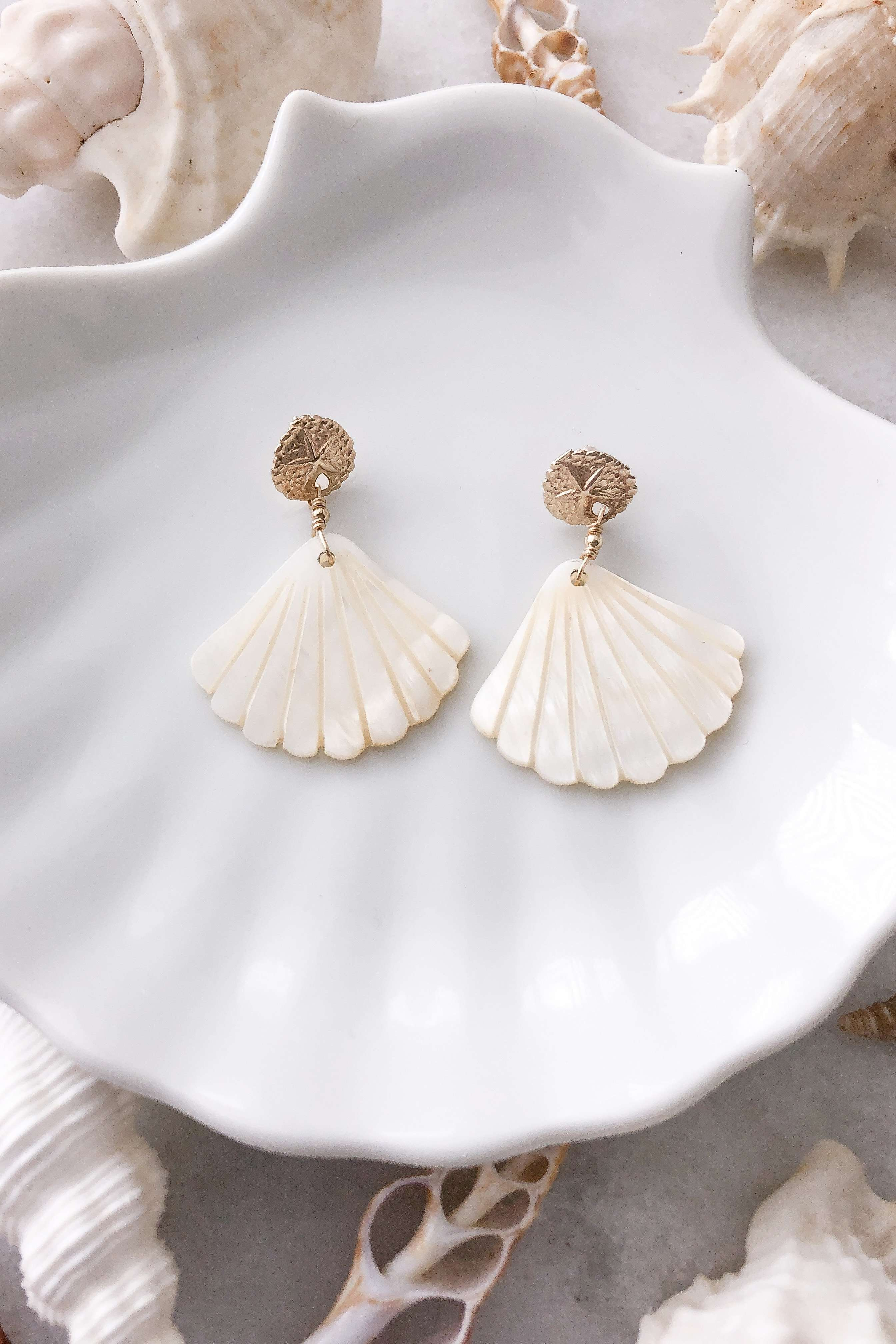 Sand Dollar & Pearl Shell Studs - Gold Fill, Earrings with  by Lunarsea Designs