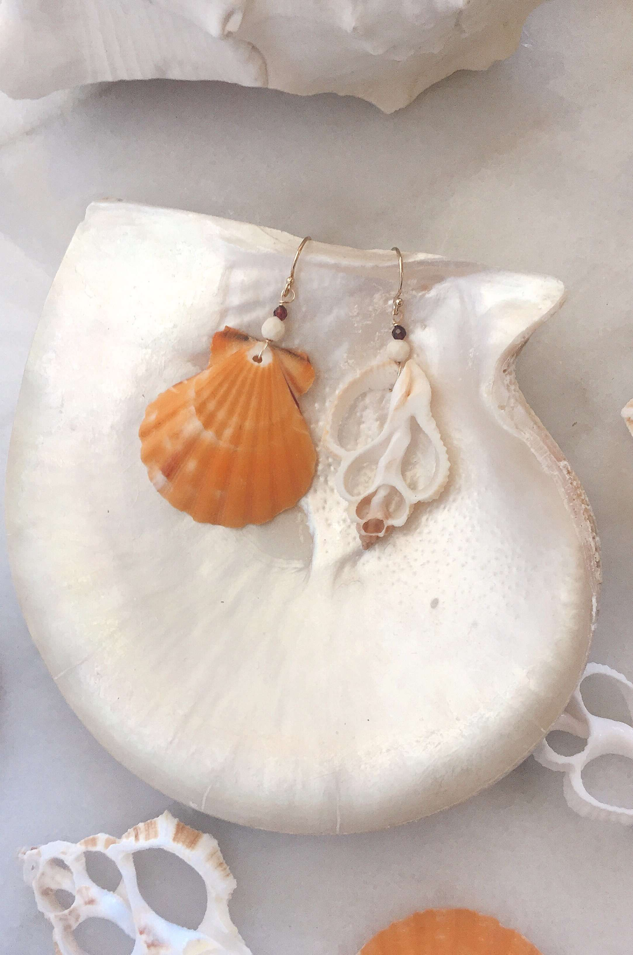 Gold Fill Castaway Earrings, Earrings with Orange Scallop & White Slice by Lunarsea Designs