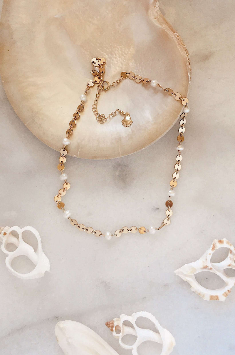 Gold Fill Pearl & Disc Choker, Necklace with  by Lunarsea Designs