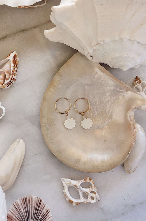 Gold Fill Pearl Shell Hoops, Earrings with Rose Quartz by Lunarsea Designs