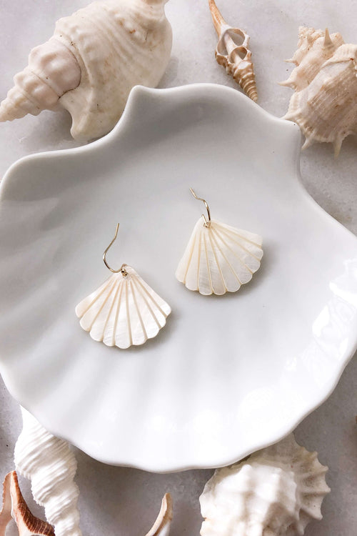 Gold Fill Pearl Shell Earrings, Earrings with  by Lunarsea Designs