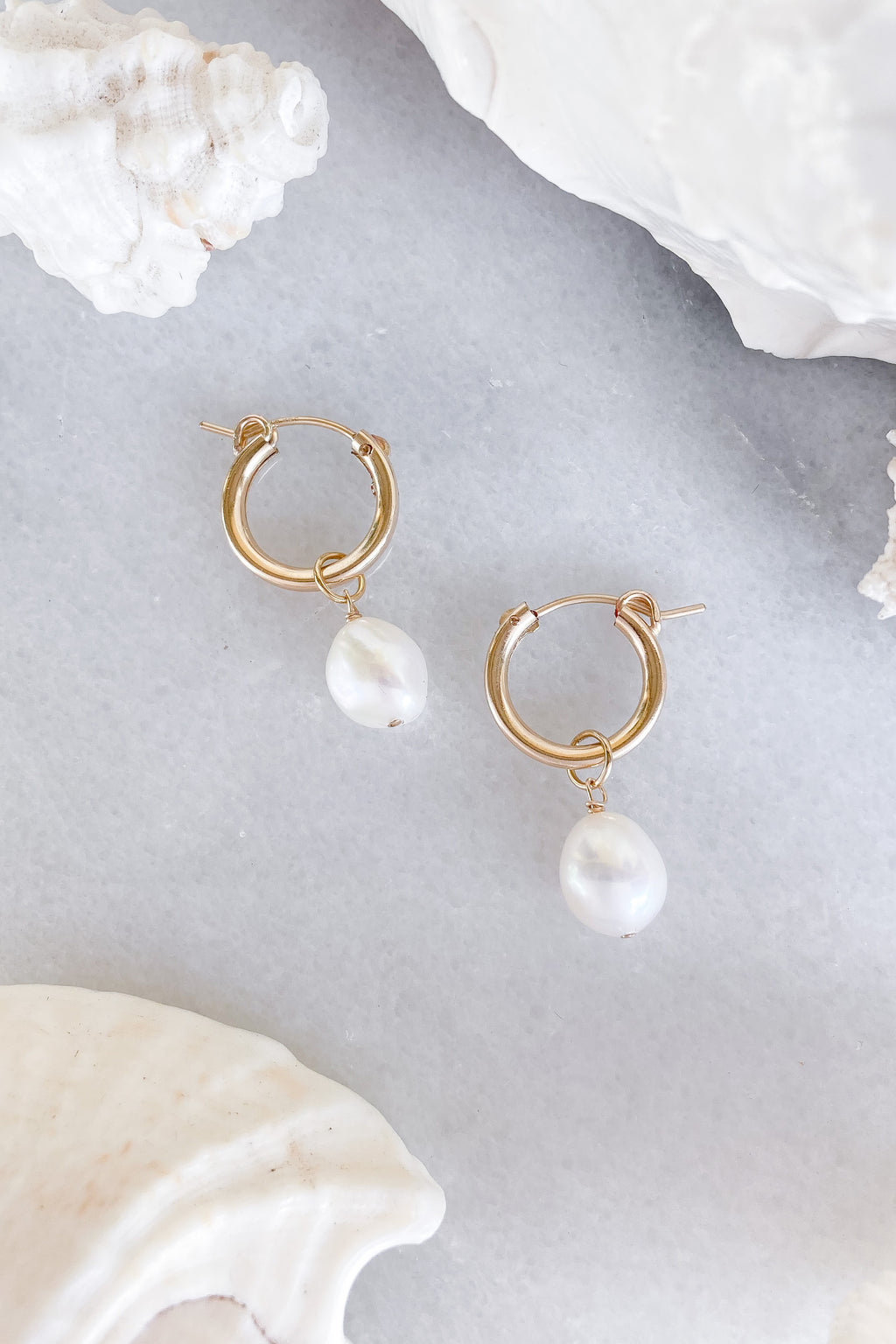 pearl hoops gold fill earrings