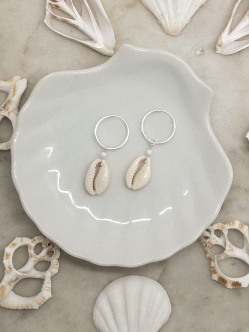 Sterling Silver Cowrie Shell Hoops, Earrings with Howlite by Lunarsea Designs
