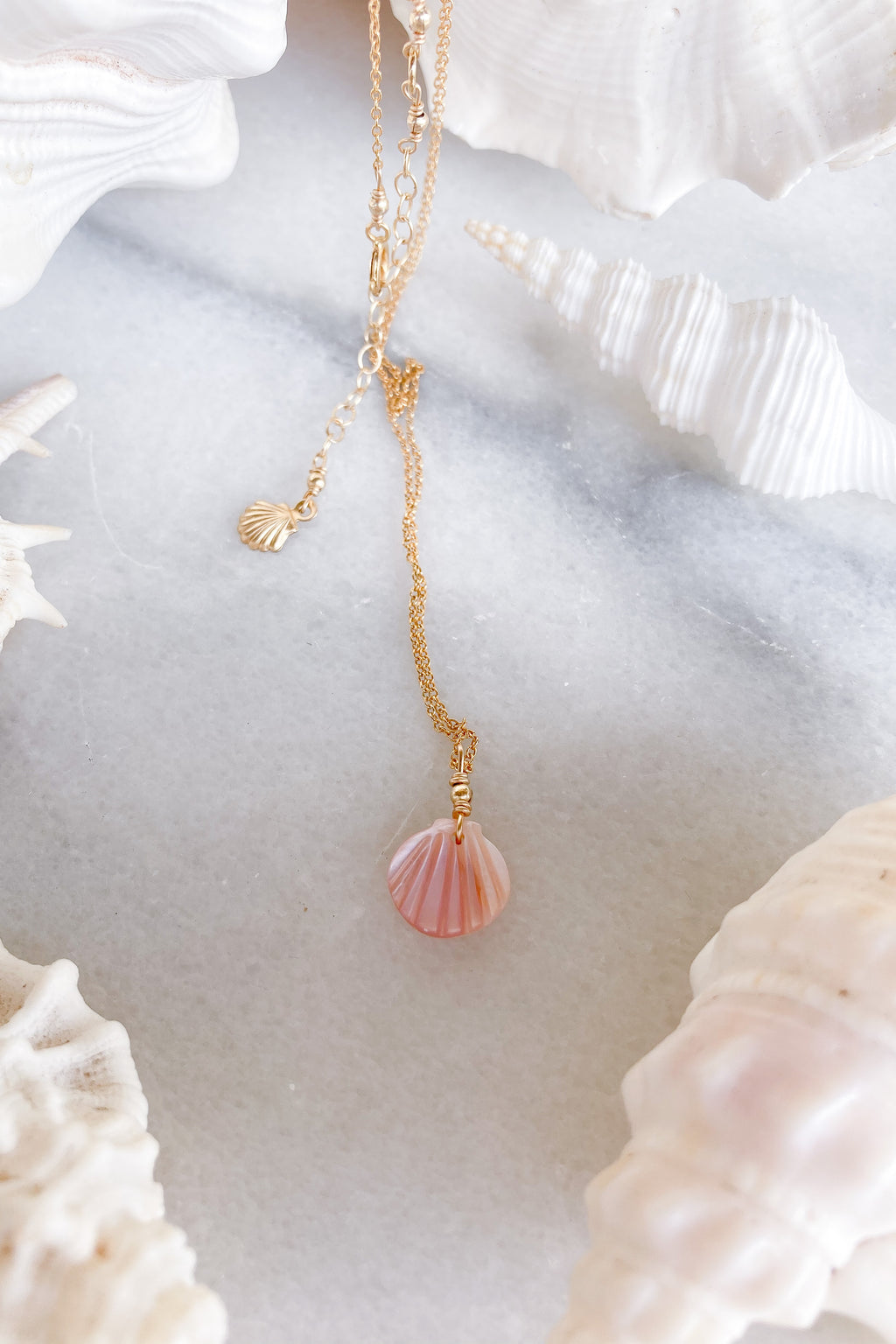 necklace pink shell gold fill