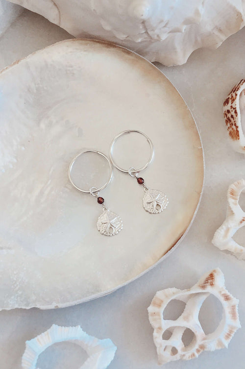 Sterling Silver Sandollar Hoops, Earrings with Garnet by Lunarsea Designs