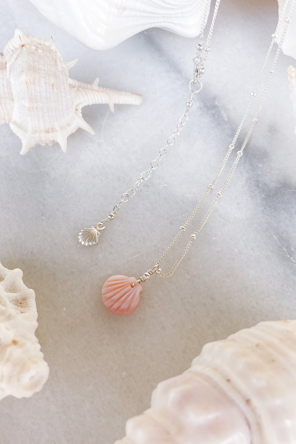 Pink Shell Satellite Necklace  - Sterling Silver