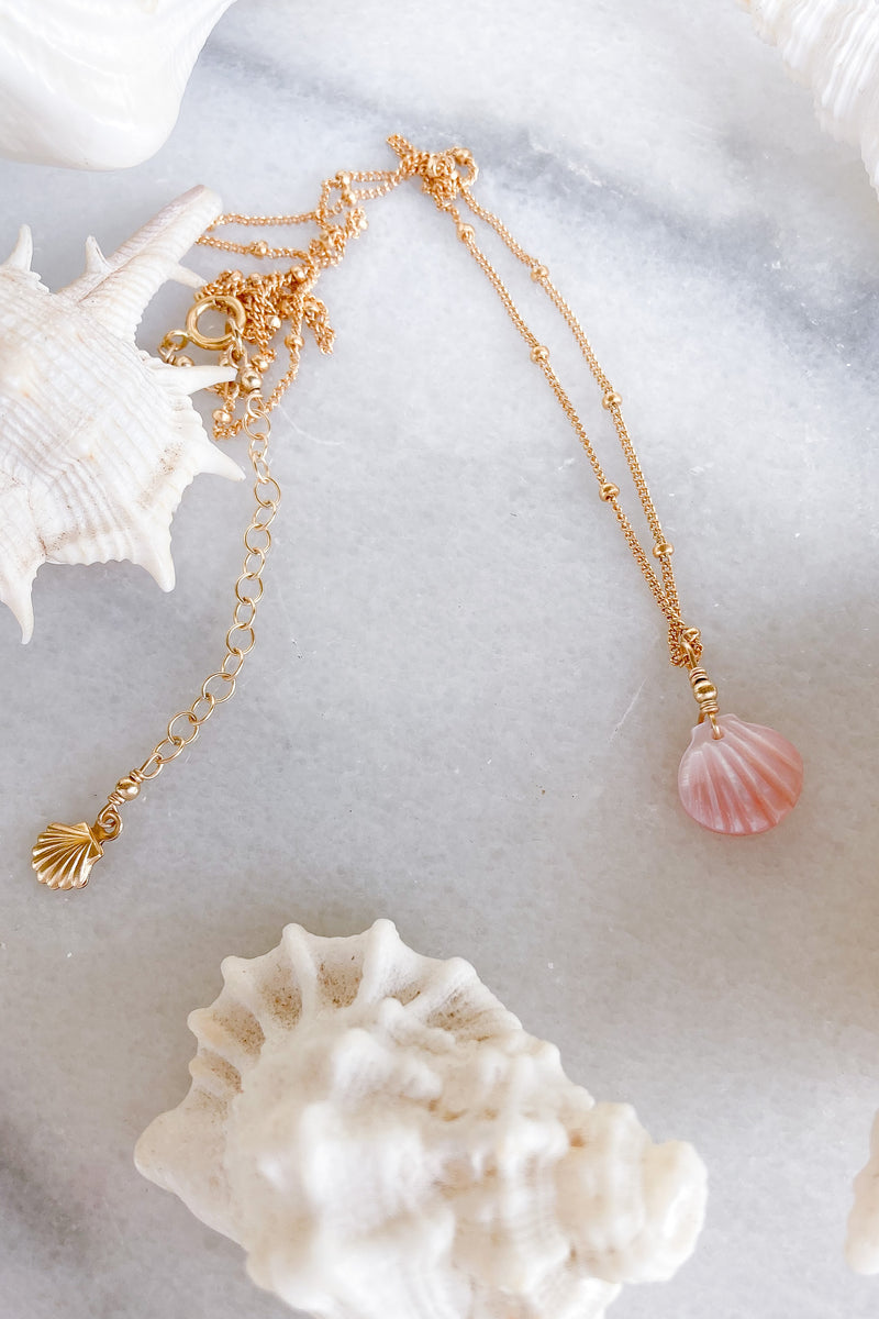 Pink Shell Satellite Necklace - Gold fill