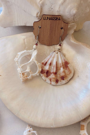 Castaway Shell Earrings, Earrings with Pink Scallop + White Slice by Lunarsea Designs
