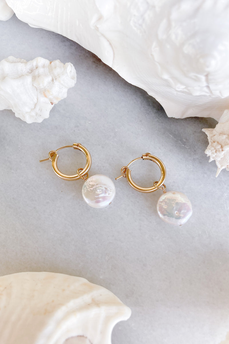 round pearl clicks hoops gold fill