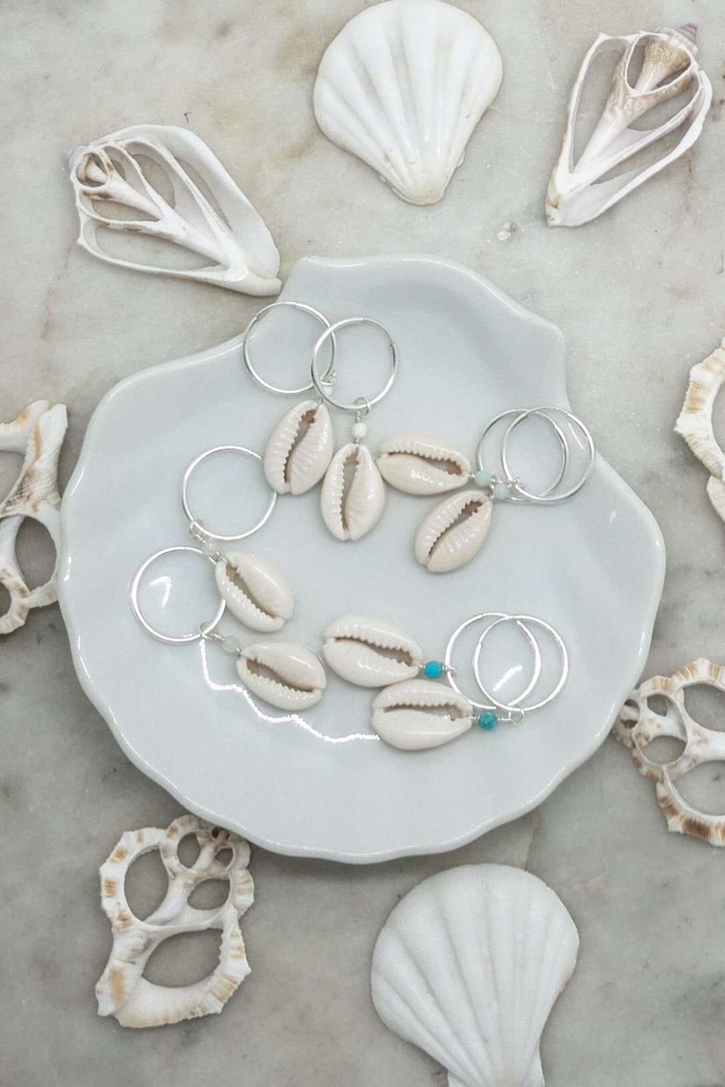 Sterling Silver Cowrie Shell Hoops, Earrings with  by Lunarsea Designs