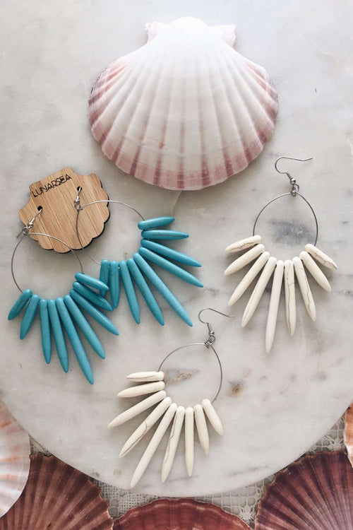 Howlite Spike Hoop Earrings, Earrings with  by Lunarsea Designs