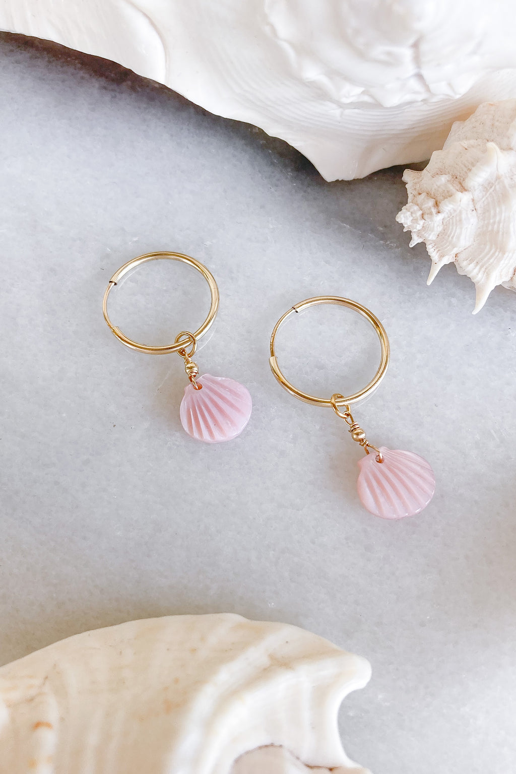 pink shell hoops gold fill