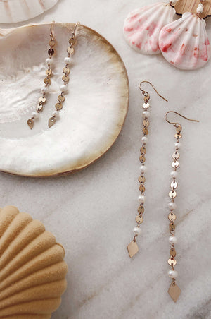 Gold Fill Pearl & Disc Chain Earrings - Long, Earrings with  by Lunarsea Designs