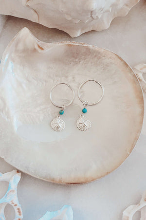 Sterling Silver Sandollar Hoops, Earrings with Turquoise by Lunarsea Designs