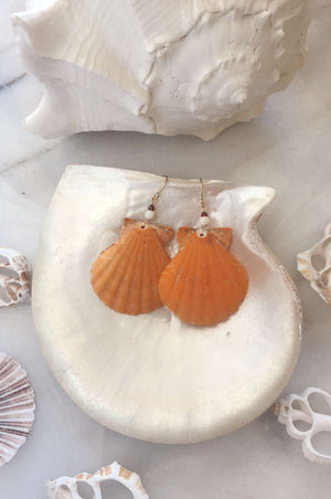 Gold Fill Castaway Earrings, Earrings with Orange Scallops by Lunarsea Designs