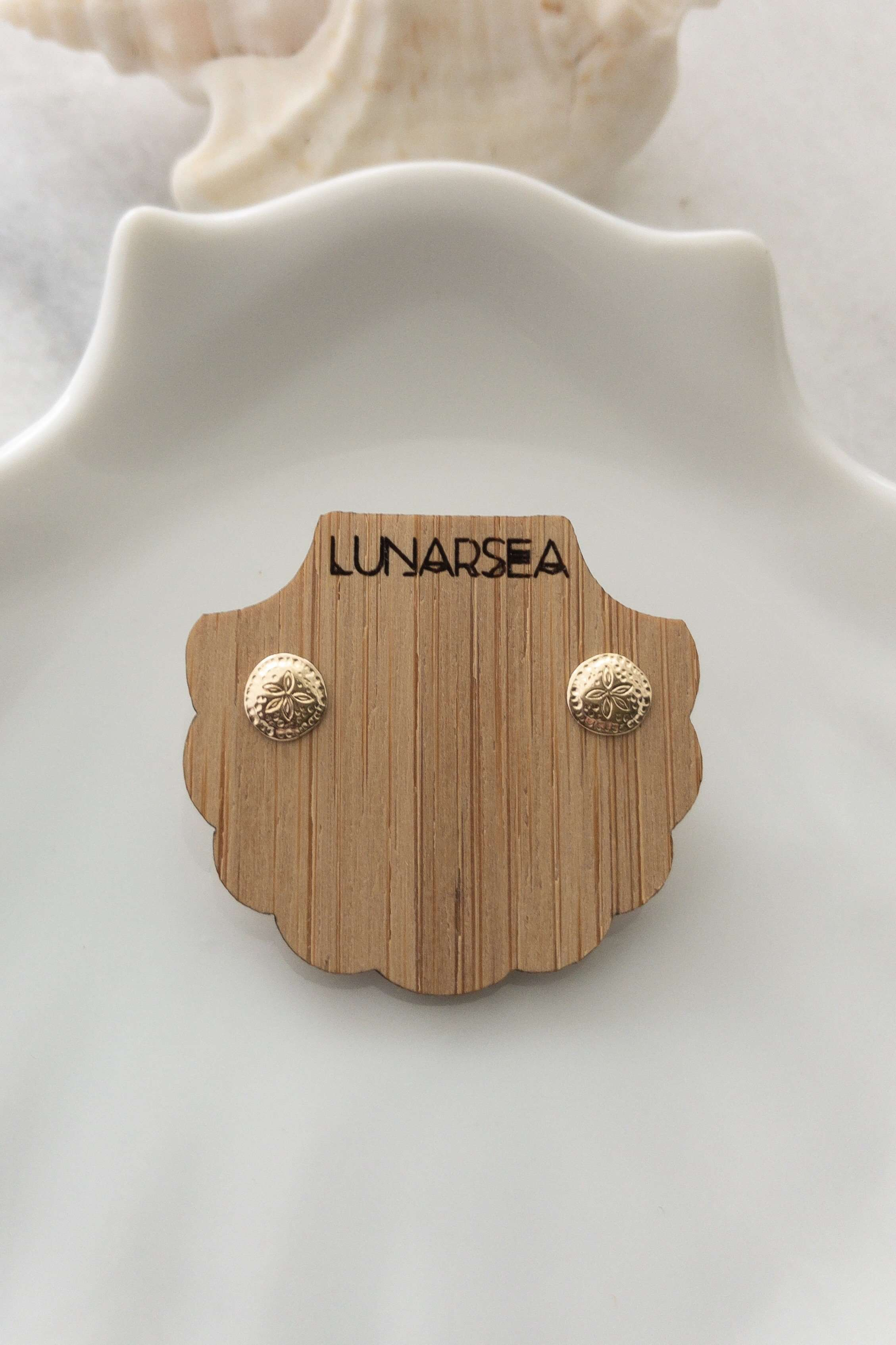 Gold Fill Sand Dollar Studs, Earrings with  by Lunarsea Designs