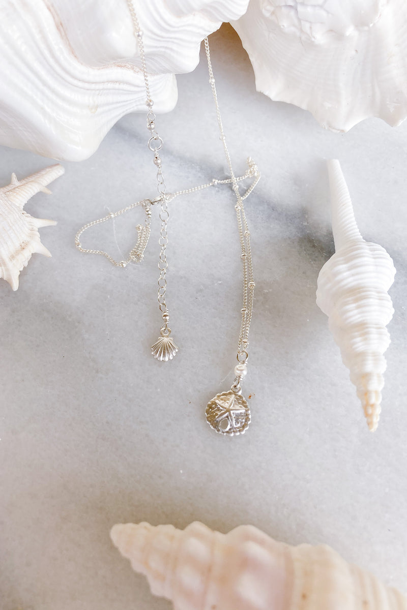 Sand Dollar Pearl Satellite Necklace  - Sterling Silver