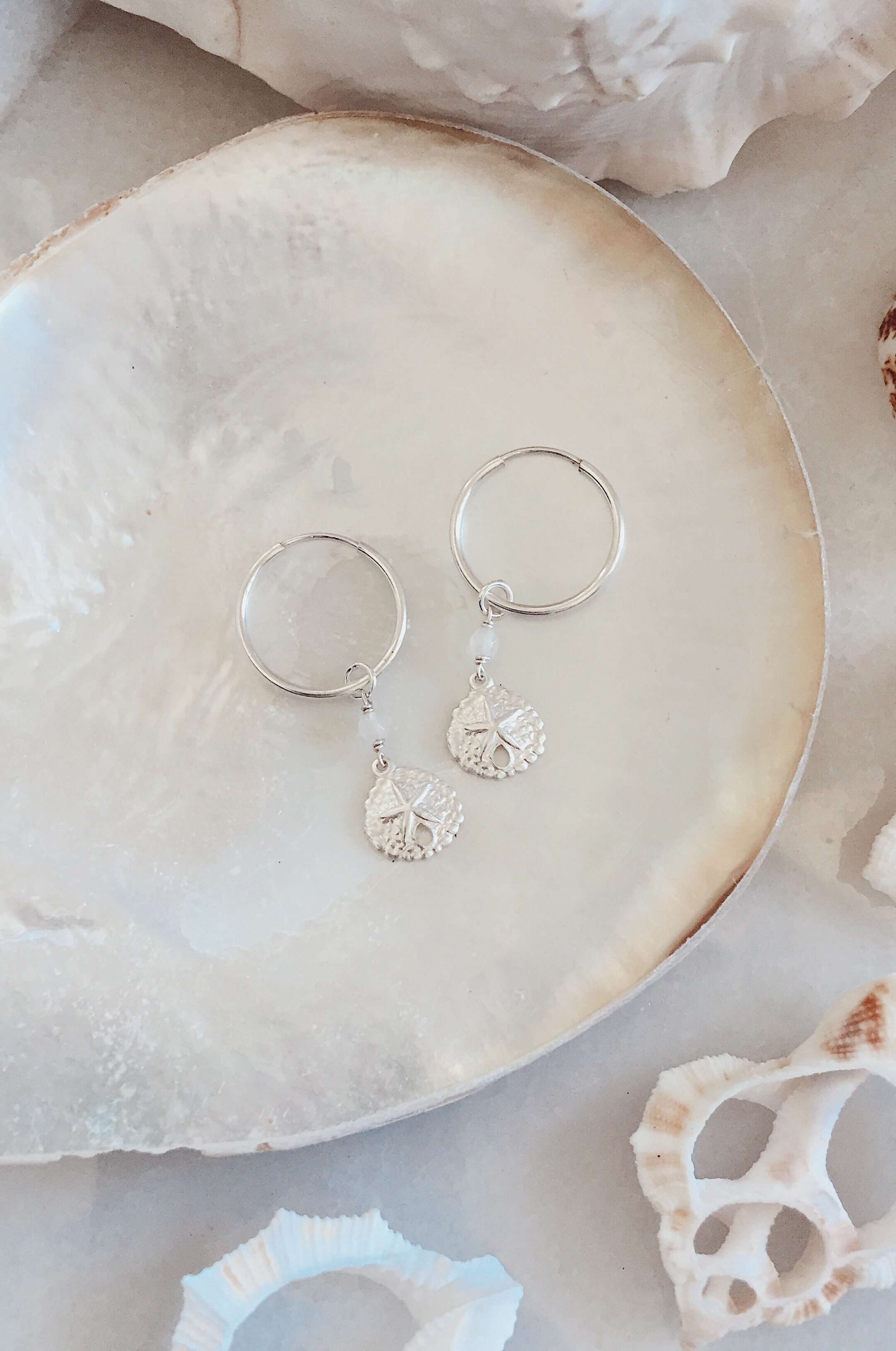 Sterling Silver Sandollar Hoops, Earrings with Rose Quartz by Lunarsea Designs