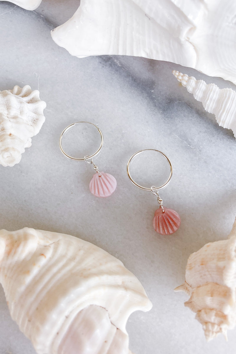 pink shell sterling silver hoop