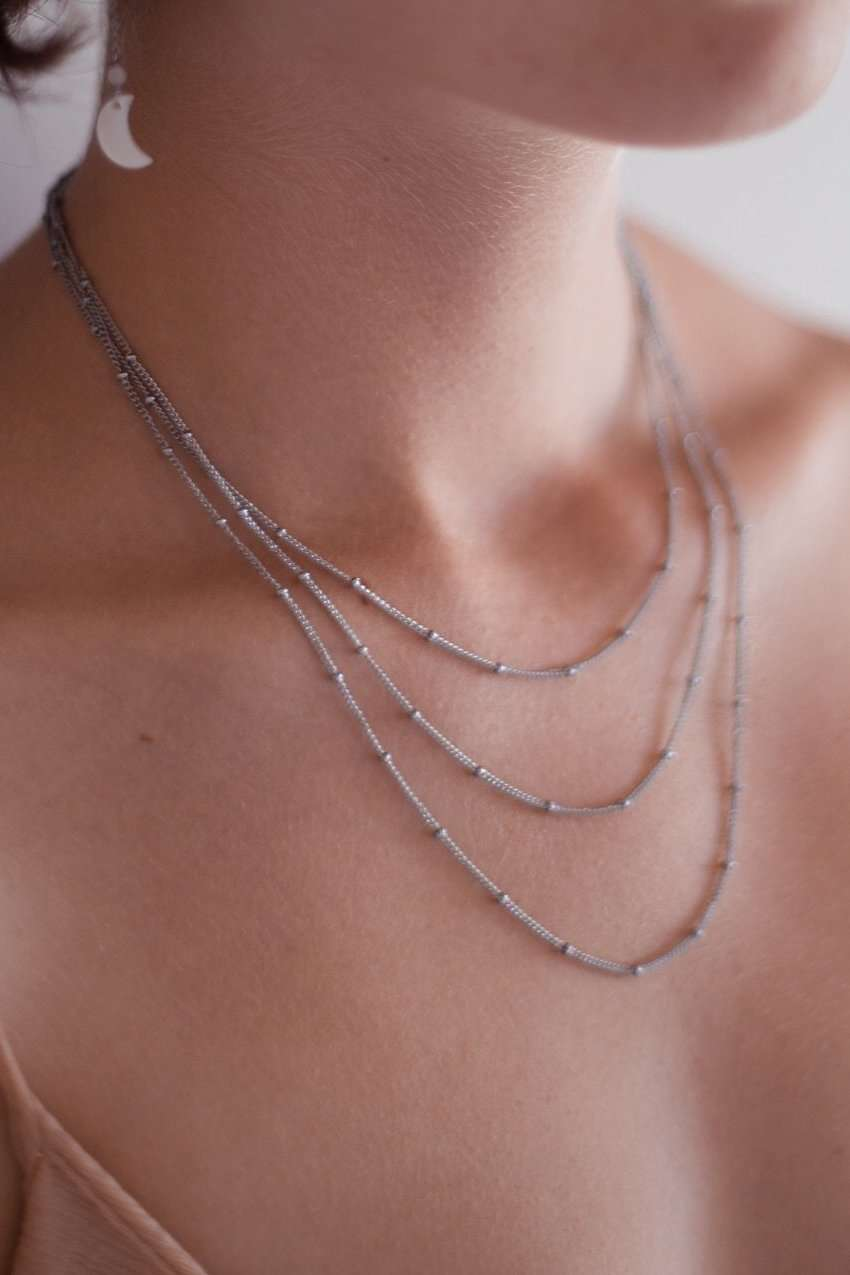3 Layer Satellite Chain Necklace, Necklace with  by Lunarsea Designs