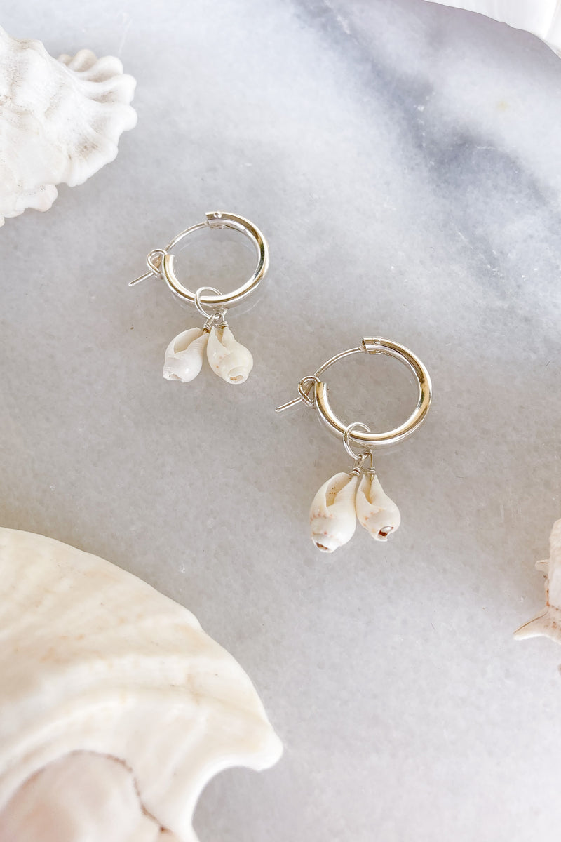 sterling silver two shells hoops