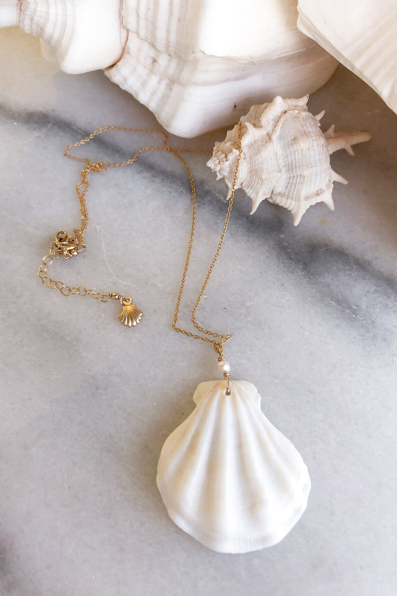 white shell necklace gold fill
