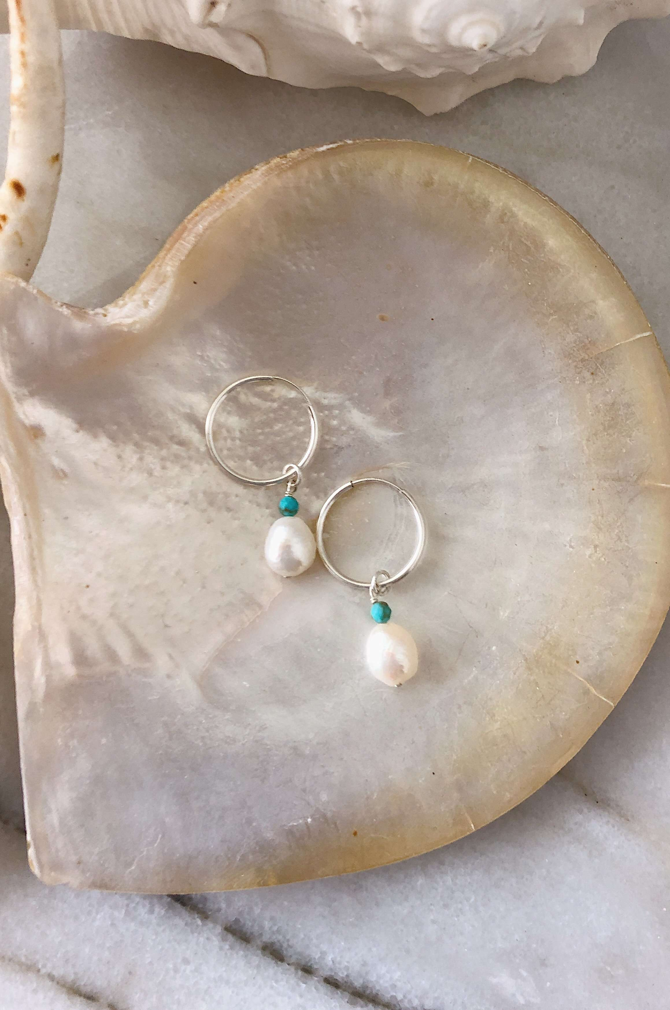 Sterling Silver Pearl Hoops, Earrings with Turquoise by Lunarsea Designs
