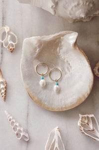 Gold Fill Pearl Hoops, Earrings with Turquoise by Lunarsea Designs