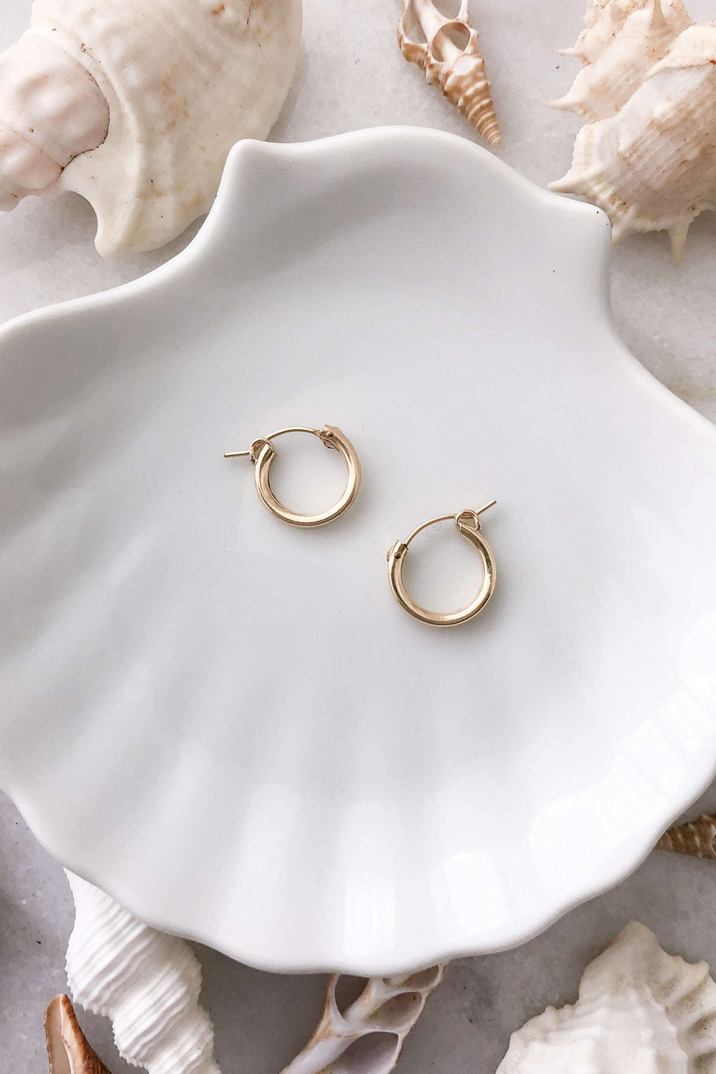 Round Click Hoops - Gold Fill, Earrings with  by Lunarsea Designs