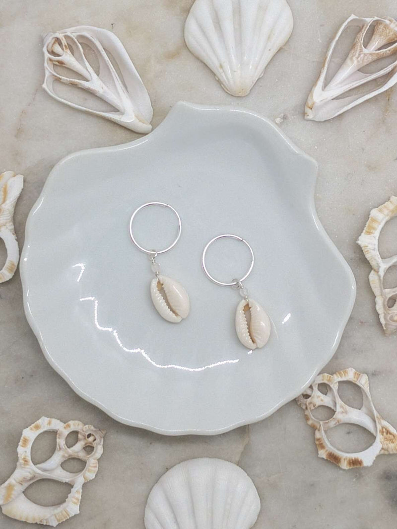 Sterling Silver Cowrie Shell Hoops, Earrings with Rose Quartz by Lunarsea Designs