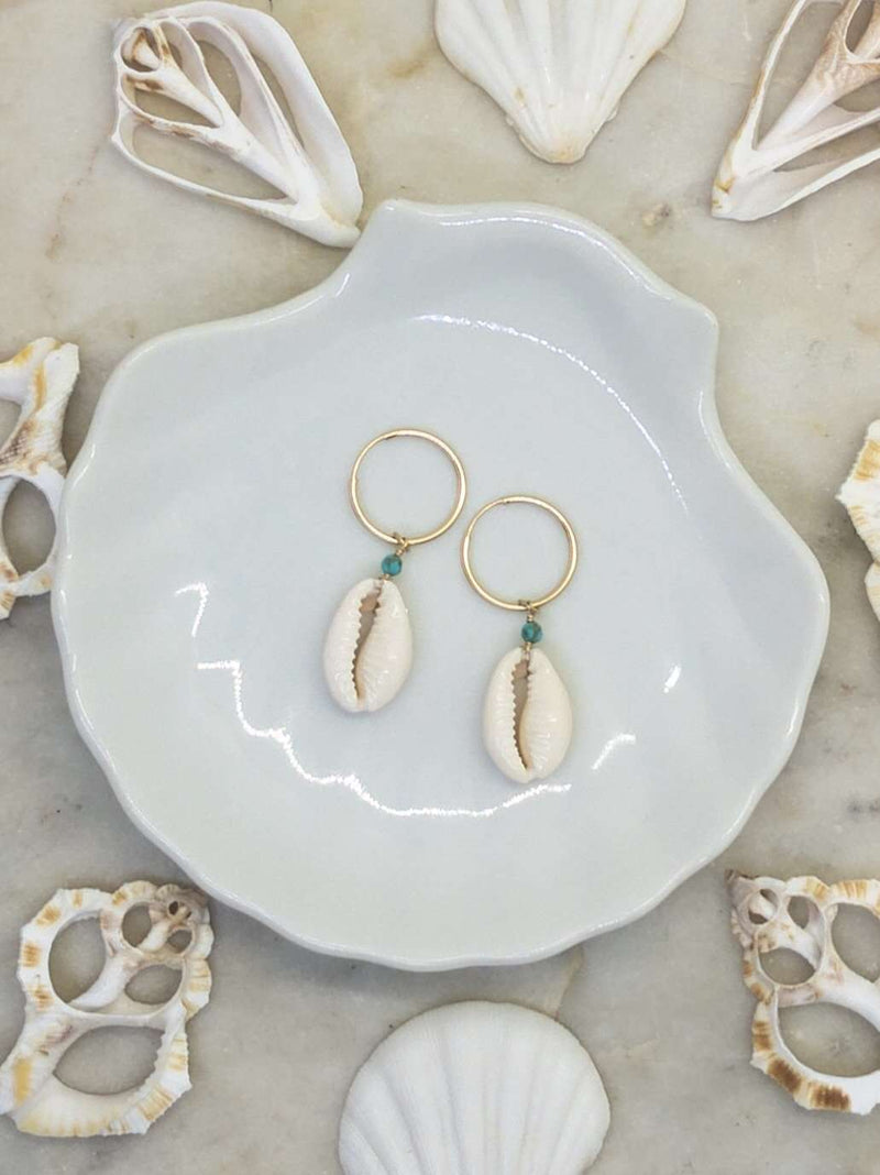 Gold Fill Cowrie Shell Hoops, Earrings with Turquoise by Lunarsea Designs