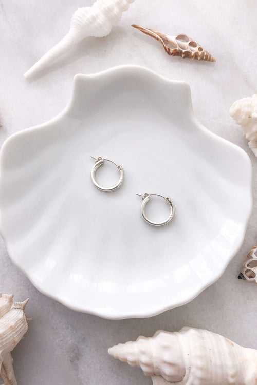 Round Click Hoops - Silver, Earrings with  by Lunarsea Designs